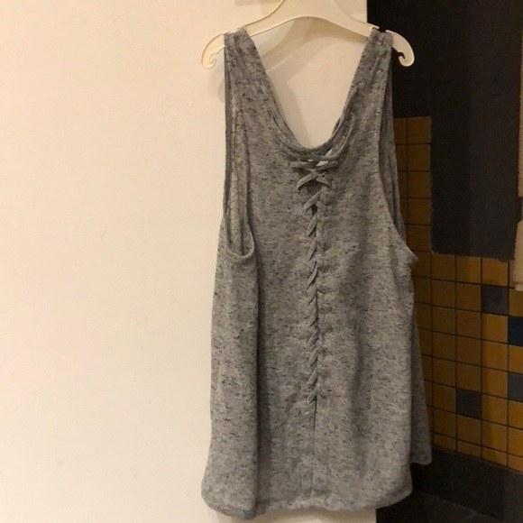 Grey knit tank with braided back